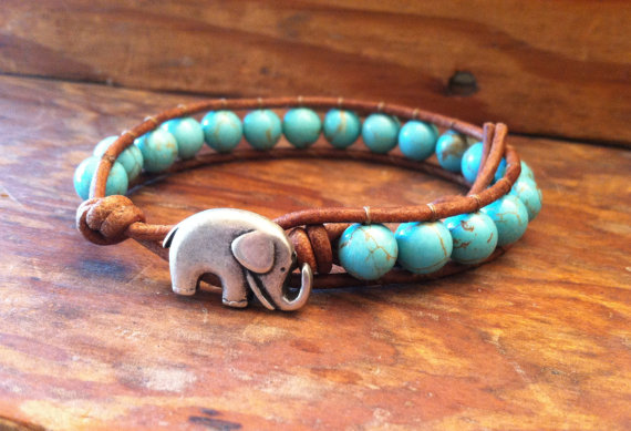 Elephant Leather Wrap Bracelet Blue Magnesite Lucky