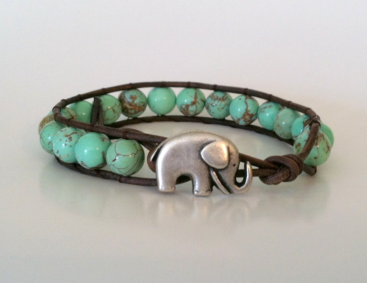 Elephant Leather Wrap Bracelet Green Magnesite Stackable Good Luck On